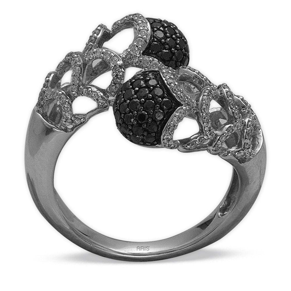 1.19 ct Schwarz Weiß Diamant Ring