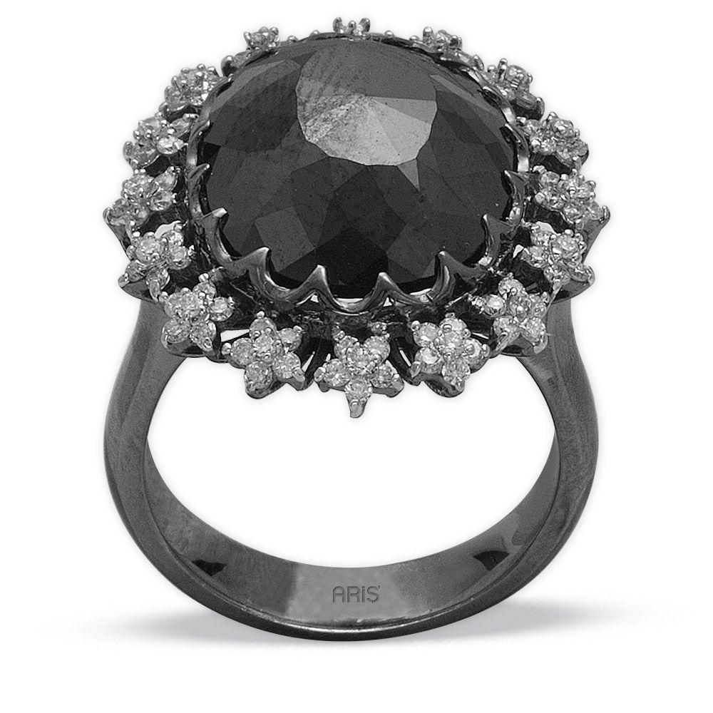 8,51 ct Schwarz Weiß Diamant Ring