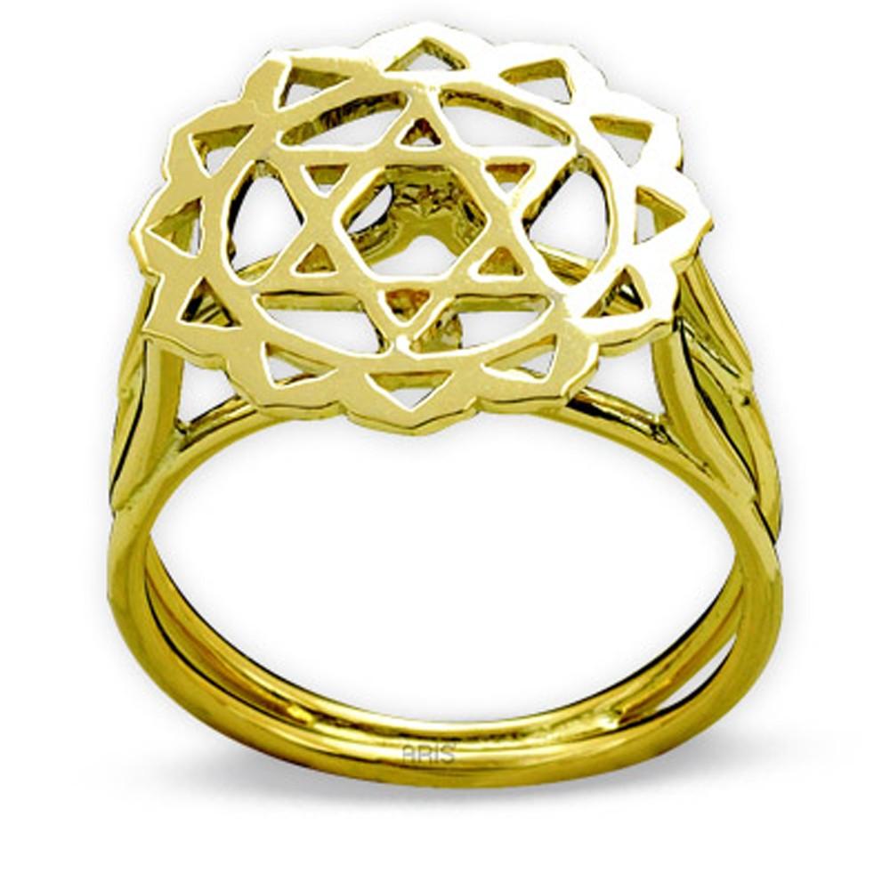 585er Gelbgold Herzchakra Ring