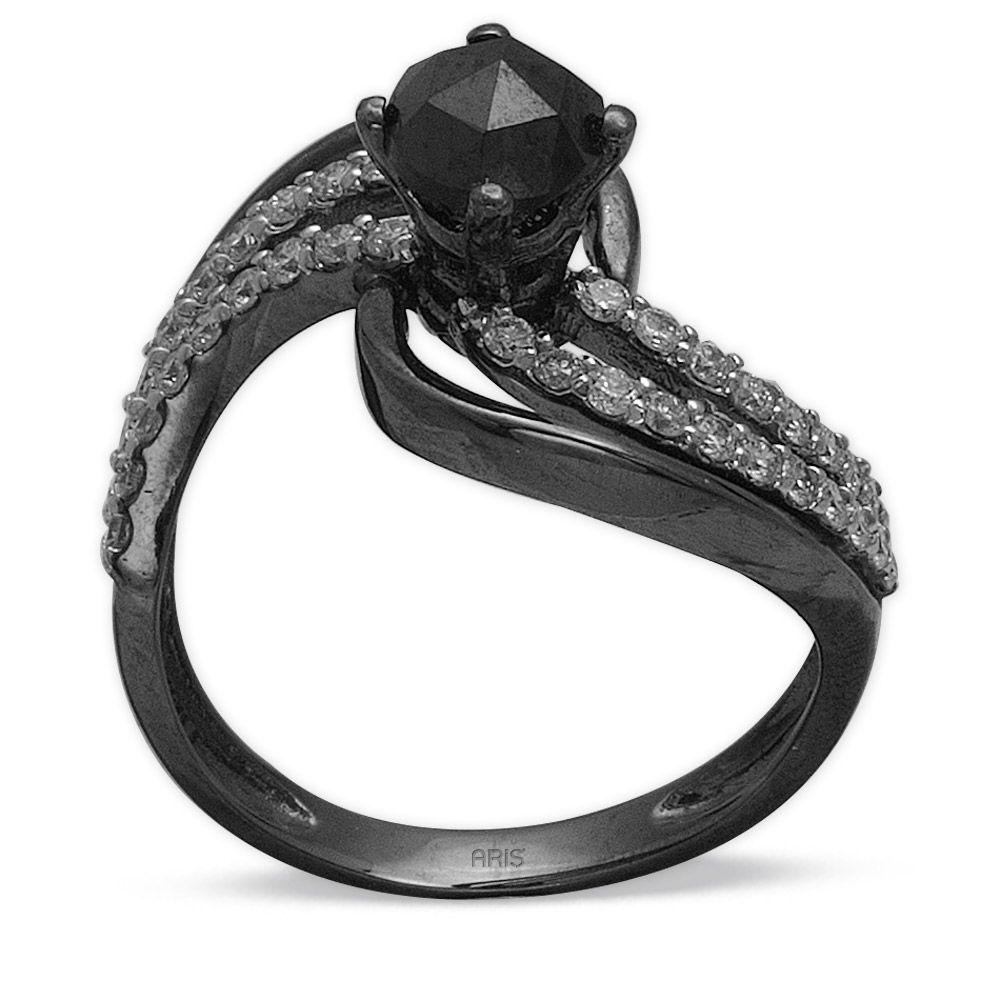 1,11 ct Schwarz Weiß Diamant Ring