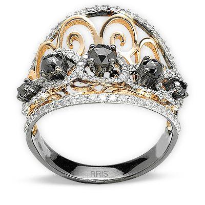 1,65 ct Schwarz Weiß Diamant Ring