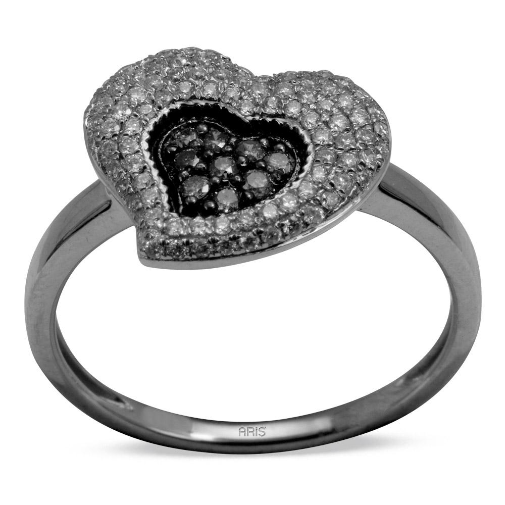 0,37 ct Schwarz Weiß Diamant Herz Ring