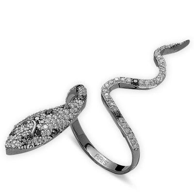 0,74 ct Schwarz Weiß Diamant Schlange Ring