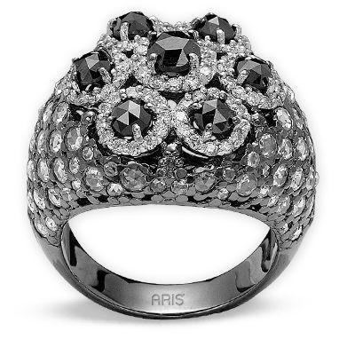 3,68 ct Schwarz Weiß Diamant Ring