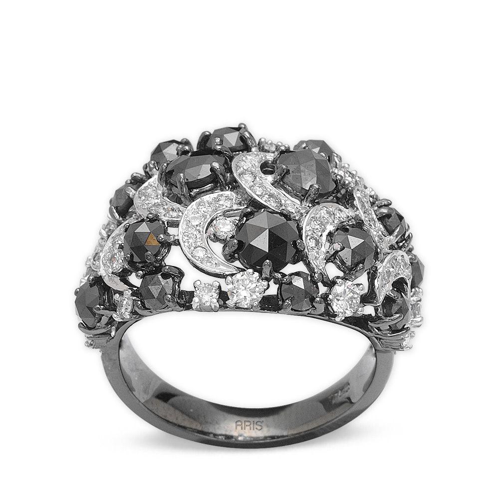 3,26 ct Schwarz Weiß Diamant Ring
