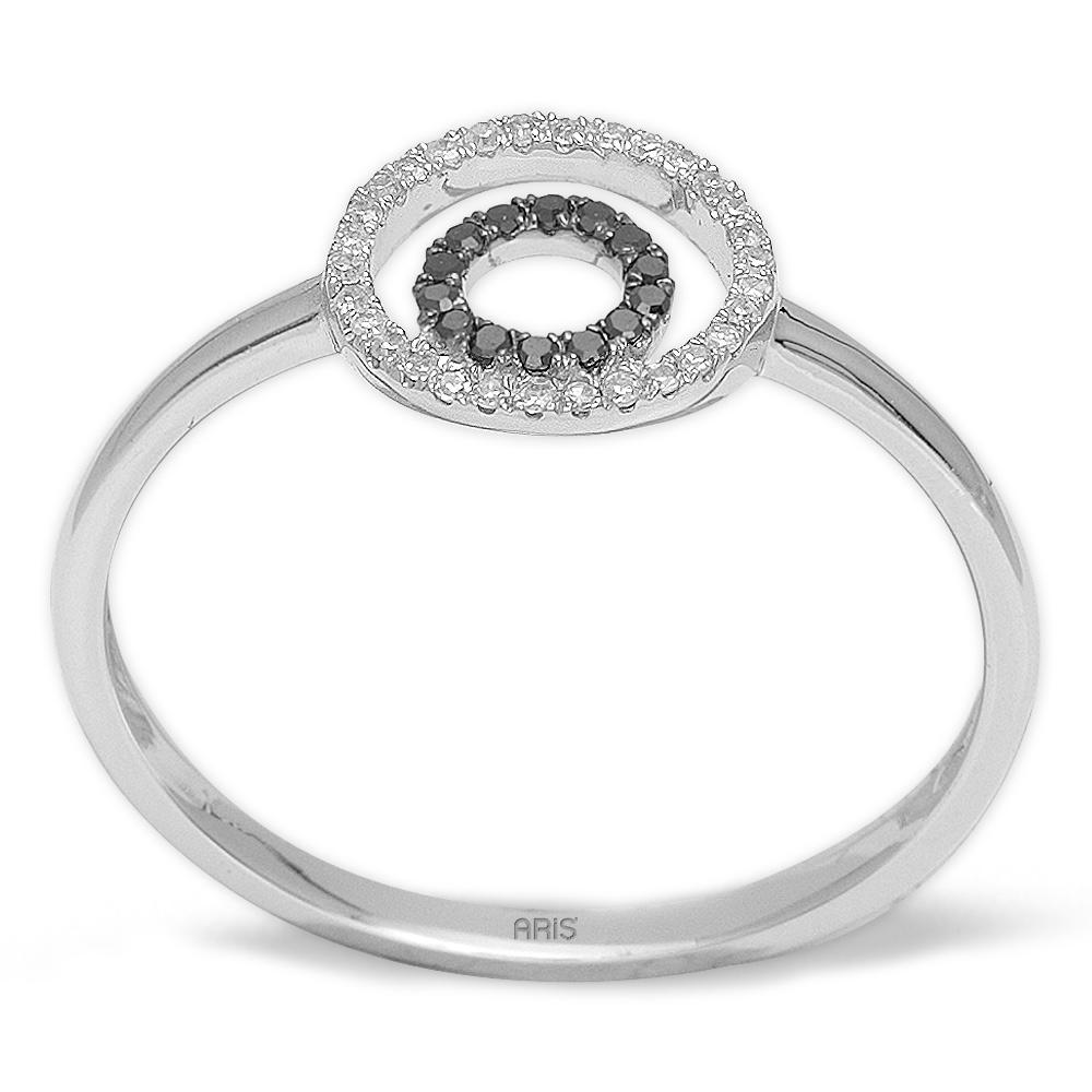 0,12 ct Schwarz Weiß Diamant Ring