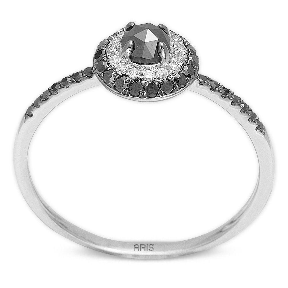 0,40 ct Schwarz Weiß Diamant Ring