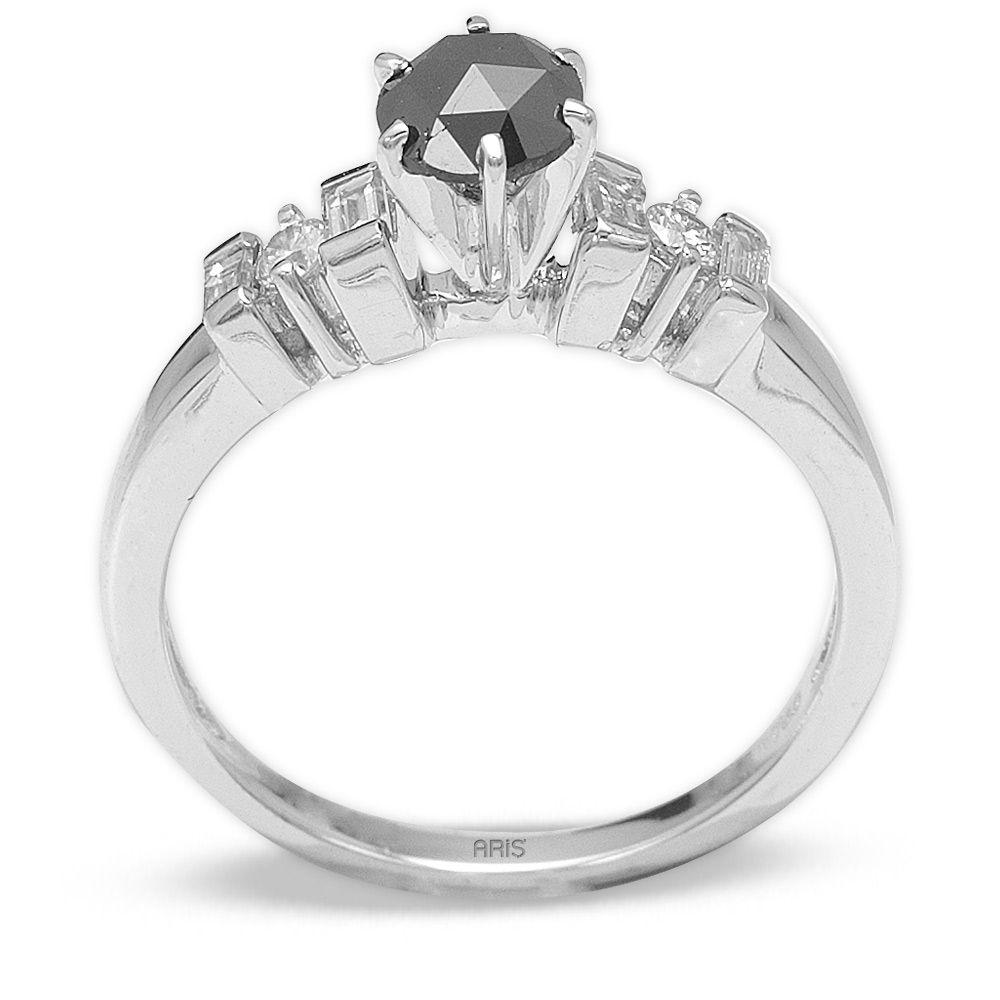 0,67 ct Schwarzer Diamant Ring mit seitlich Weissen Brillanten