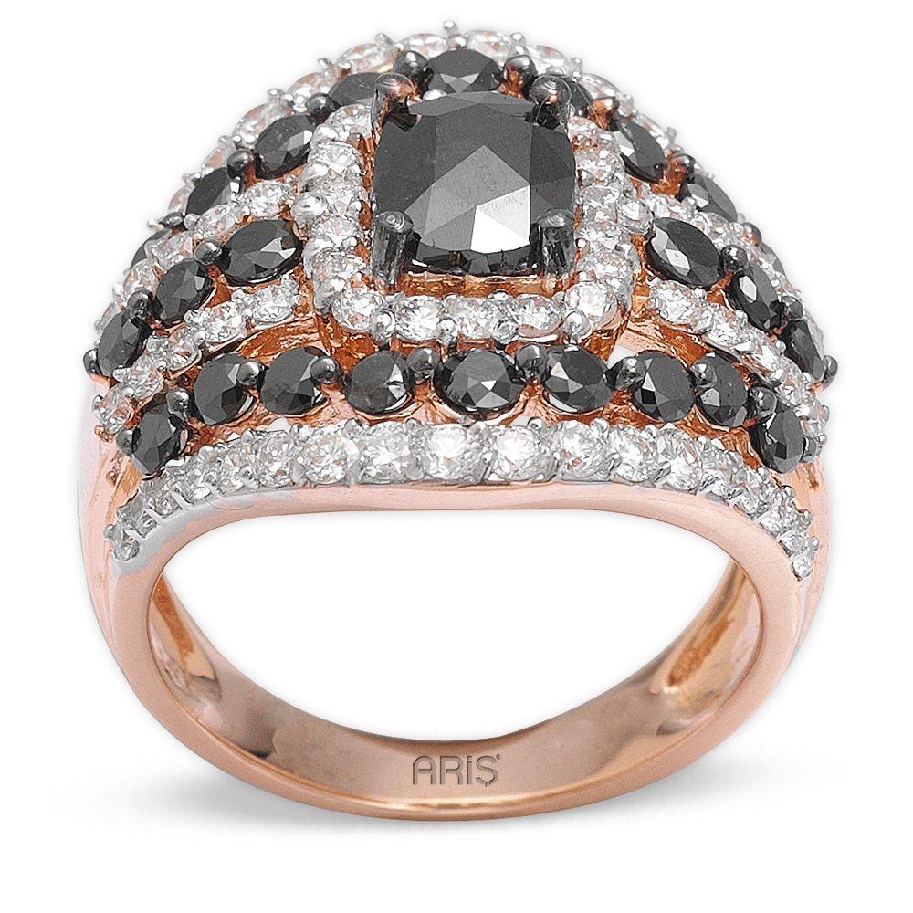 3,50 ct Schwarz Weiß Diamant Ring