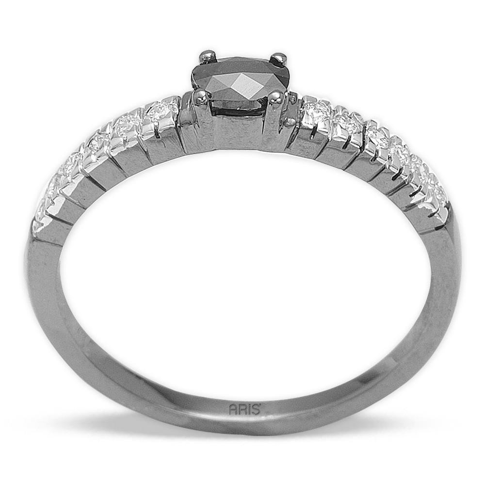 0,34 ct Schwarz Weiß Diamant Ring