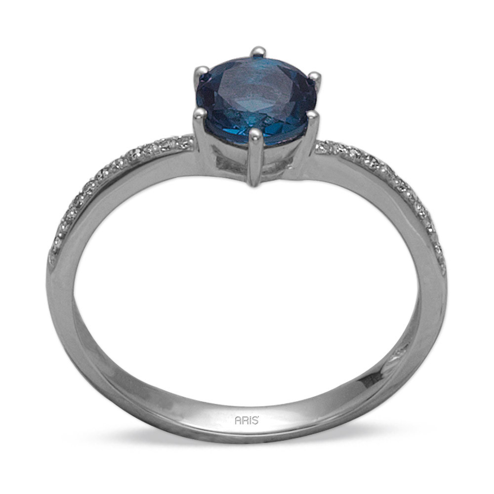 1,07 ct Blautopas Diamant Ring