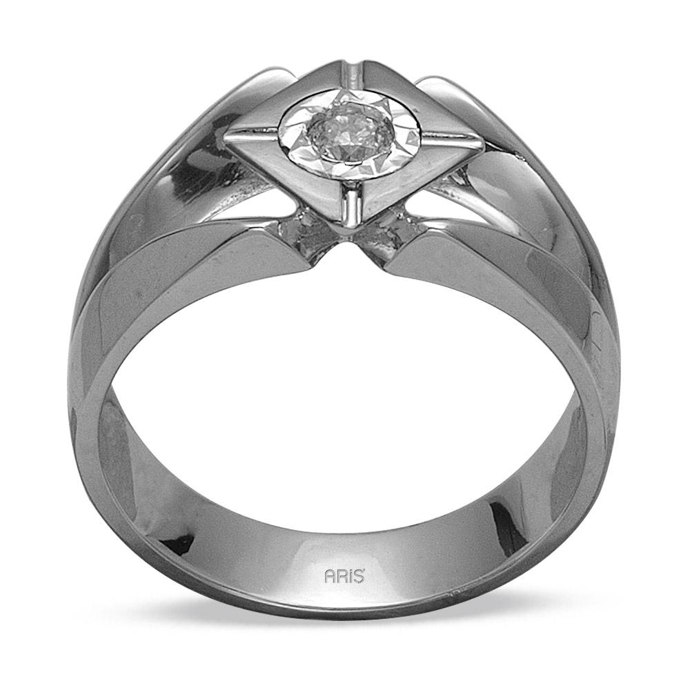 0,16 ct Diamant Silber Männlicher Ring