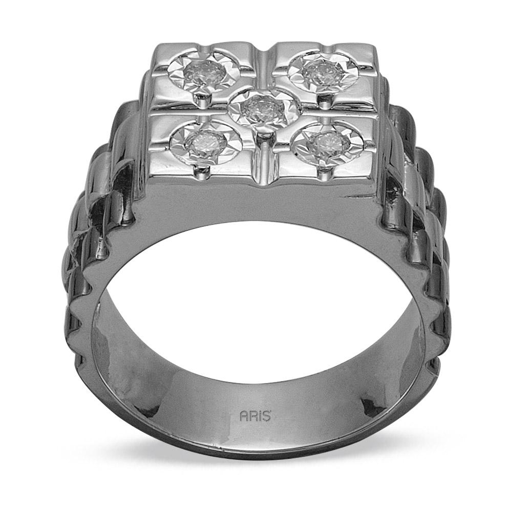 0,24 ct Diamant Silber Männlicher Ring