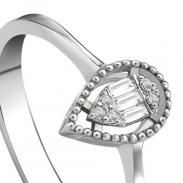 0,06 ct Diamant Baguette-Schliff Ring