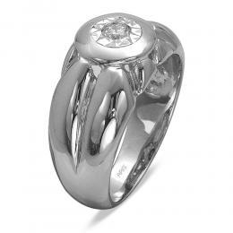 0,18 ct Diamant Silber Männlicher Ring