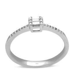 0,12 ct Diamant Baguette-Schliff Ring