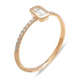 0,24 ct Diamant Baguette-Schliff Ring