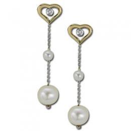 0,04 ct Diamant Perlen Ohrringe