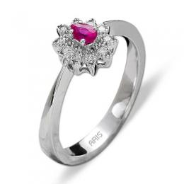 0,21 ct Rubin Diamant Ring