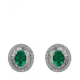 1,55 ct Smaragd Diamant Baguette-Schliff Ohrringe