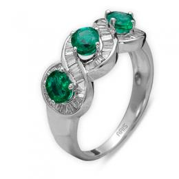 1,12 ct Smaragd Diamant Ring