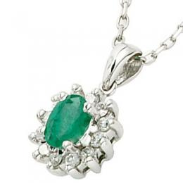0,30 ct Smaragd Diamant Kette