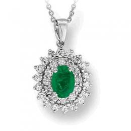 1,18 ct Smaragd Diamant Kette