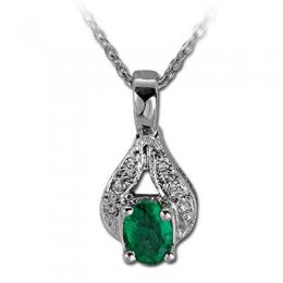 0,15 ct Smaragd Diamant Kette