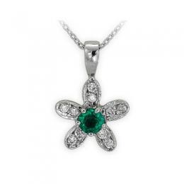 0,10 ct Smaragd Diamant Kette