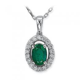 0,34 ct Smaragd Diamant Kette