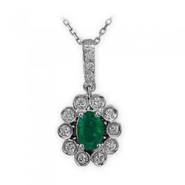 0,70 ct Smaragd Diamant Kette