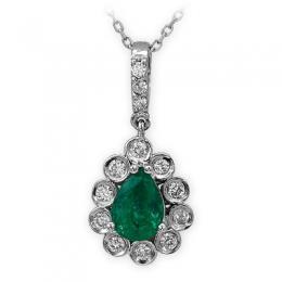0,74 ct Smaragd Diamant Kette