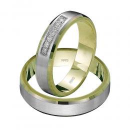 585er 14K Weiβ-Gelb Diamant Gold Trauring