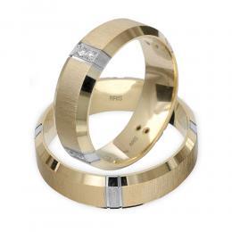 585er 14K Weiβ-Gelb Gold Diamant Trauring
