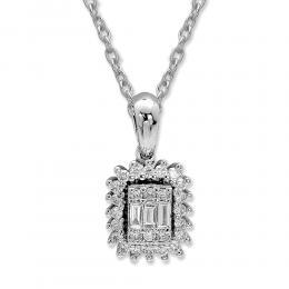 0.22 ct Diamant Baguette-Schliff Kette