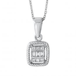 Diamant Baguette-Schliff Halskette