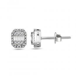 0,21 CT  Baguette  Diamant Ohrringe