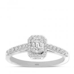 0,21 ct Diamant Baguette-Schliff Ring