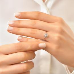 0,11 ct Diamant Baguette Ring