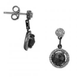 1,84 ct Schwarz Weiß Diamant Ohrring