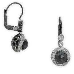 3,06 ct Schwarz Weiß Diamant Ohrringe