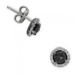 0,59 ct Schwarz Weiß Diamant Ohrringe