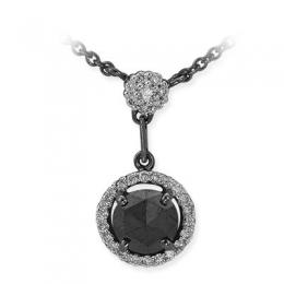 0,86 ct Schwarz Weiß Diamant Kette