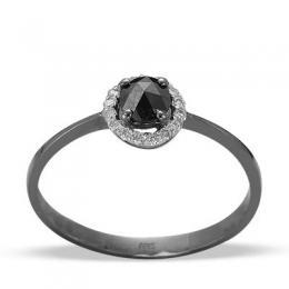 0,35 ct Schwarz Weiß Diamant Ring
