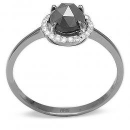 0,87 ct Schwarz Weiß Diamant Ring