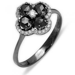 0,82 ct Schwarz Weiß Diamant Ring
