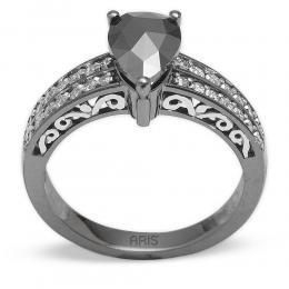 1,12 ct Schwarz Weiß Diamant Ring