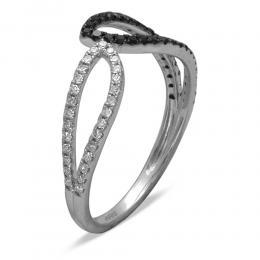 0,31 ct Schwarz Weiß Diamant Ring