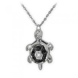 0,06 ct Schwarz Weiß Diamant Kette