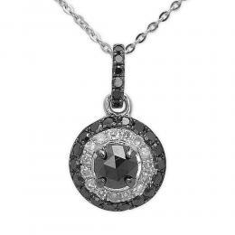 0,39 ct Schwarz Weiß Diamant Kette
